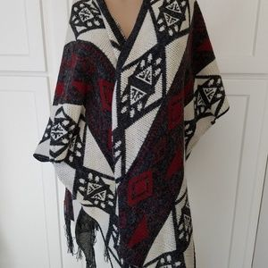 handmade multi-color wrap cardigan Poncho OS